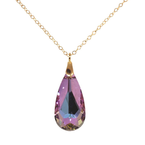 14k Gold-filled Teardrop Pendant Made with Swarovski(R) Crystal with Pink Purple and Blue Colors