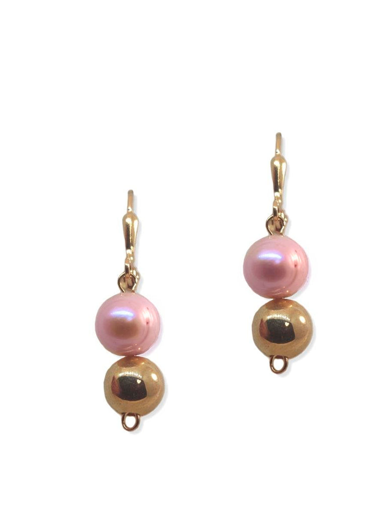 Pink Cultured Freshwater 9mm Pearl Earrings Gold-plated