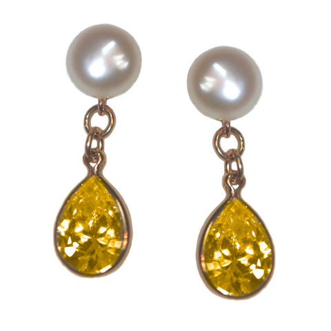 A+ Grade Cultured Freshwater Pearl Earrings November Cubic Zirconia 14K Gold-Fill
