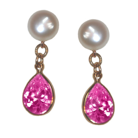 A+ Grade Cultured Freshwater Pearl Earrings October Cubic Zirconia 14K Gold-Fill