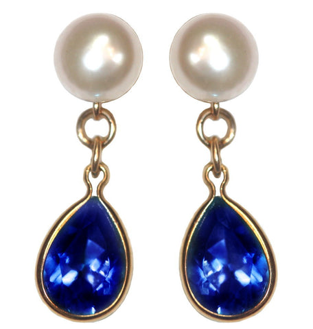 A+ Grade Cultured Freshwater Pearl Earrings September Cubic Zirconia 14K Gold-Fill