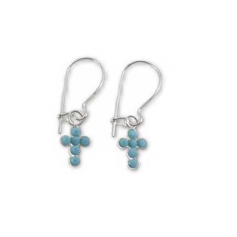 Cross Earrings Made with Turquoise-Color Crystal Sterling Silver