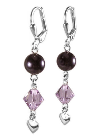 Purple Drop Earrings Made with Swarovski(R) Crystals and Pearls Heart Charm Drop