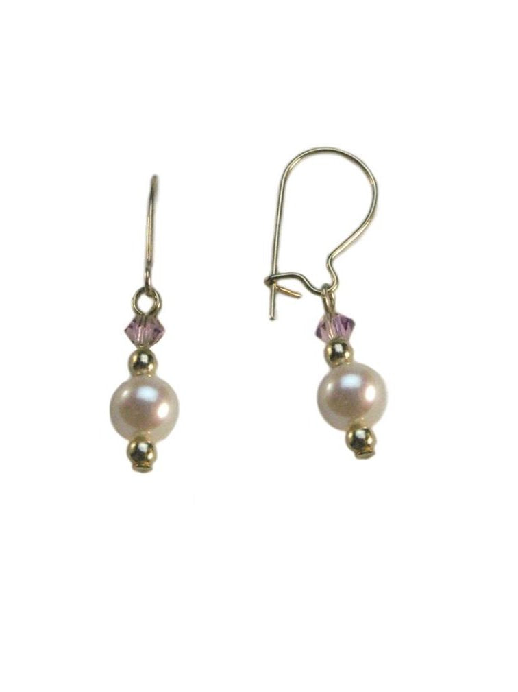 Cultured Freshwater Pearl Earrings Made with Swarovski(R) Crystals Gold-filled