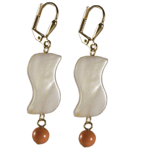 Mother of Pearl Earrings with Orange Melon Gold-plated Leverbacks