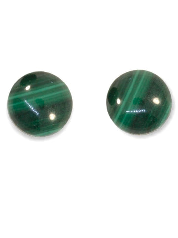 Ball Stud Earrings Green Malachite Stud Earrings Stainless Steel