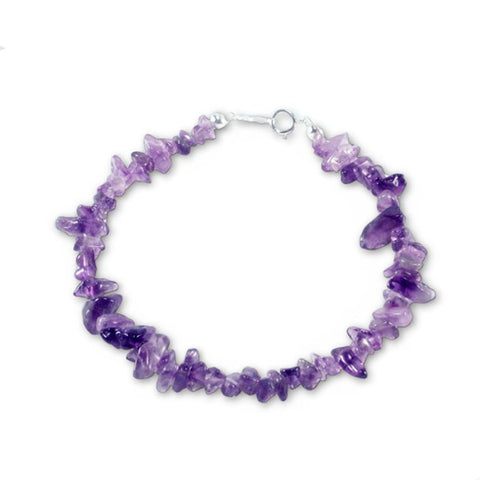 Amethyst Dyed Gem Chip Bracelet Sterling Silver Clasp  Hand Assembled in the USA