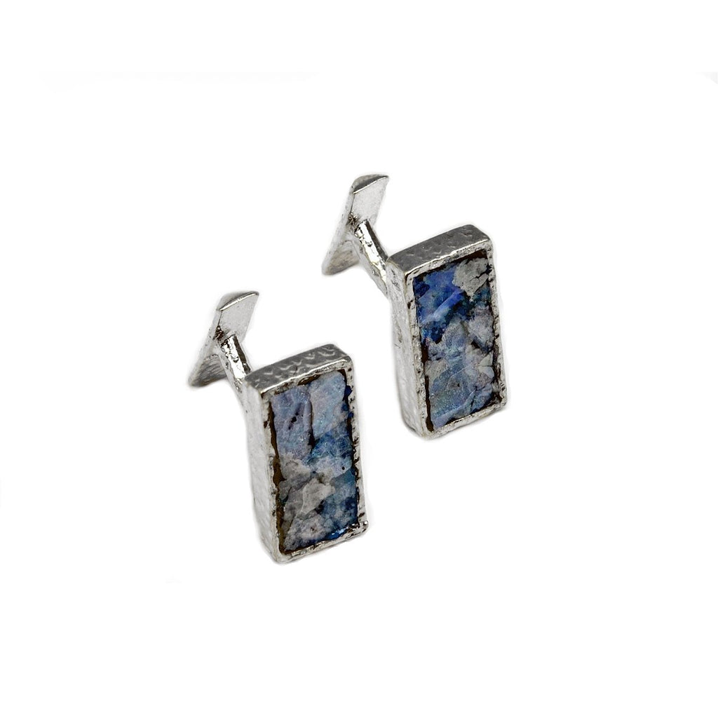 Ancient Roman Glass Sterling Silver Cuff Links Rectangle Shape Multicolor