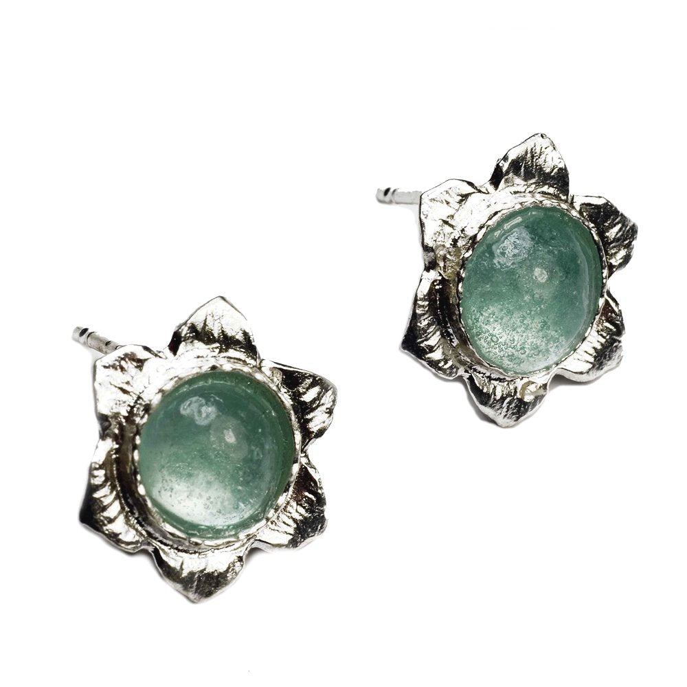 Ancient Roman Glass Stud Earrings with Flower Design Sterling Silver