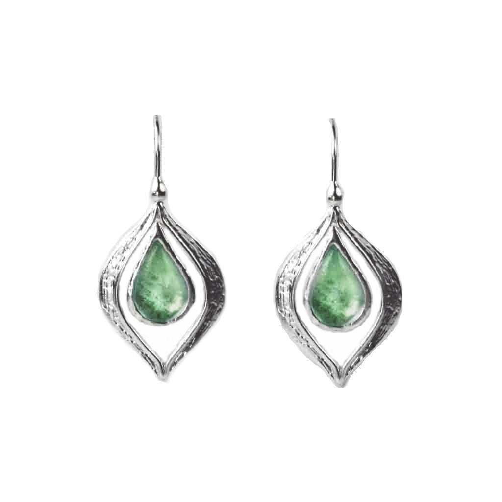 Ancient Roman Glass Earrings Marquise Teardrop Leaf Design Sterling Silver Aqua