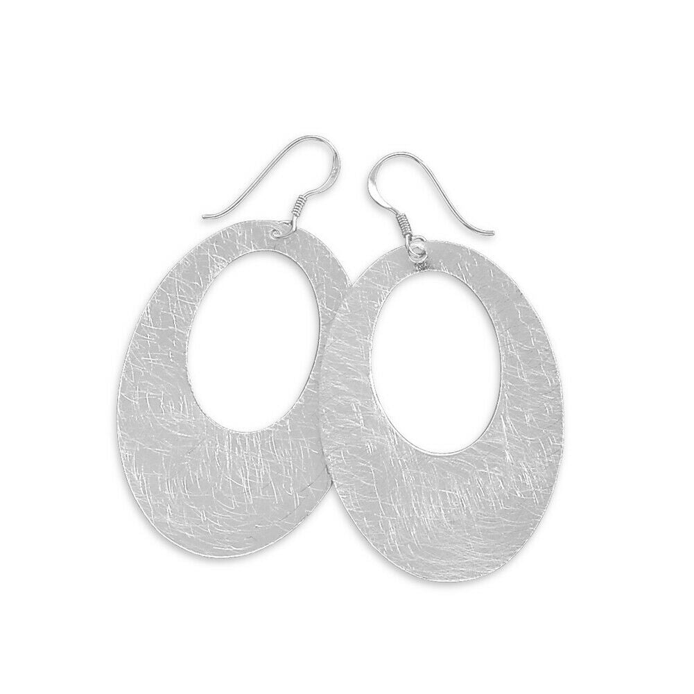 Sterling Silver Open Oval Dangle Earrings with Swirl Scratch Brushed Finish