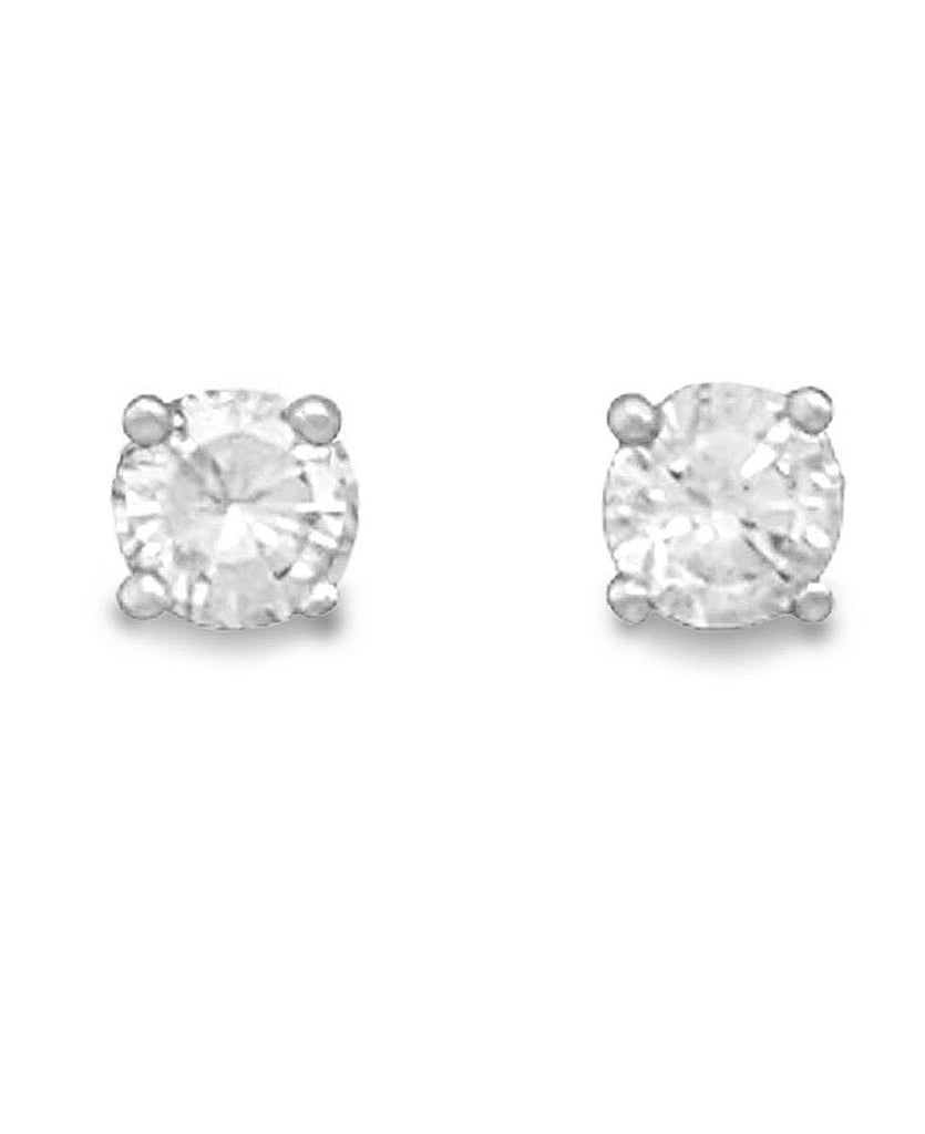 Clear Cubic Zirconia Rhodium Stud Earrings Nontarnish - April