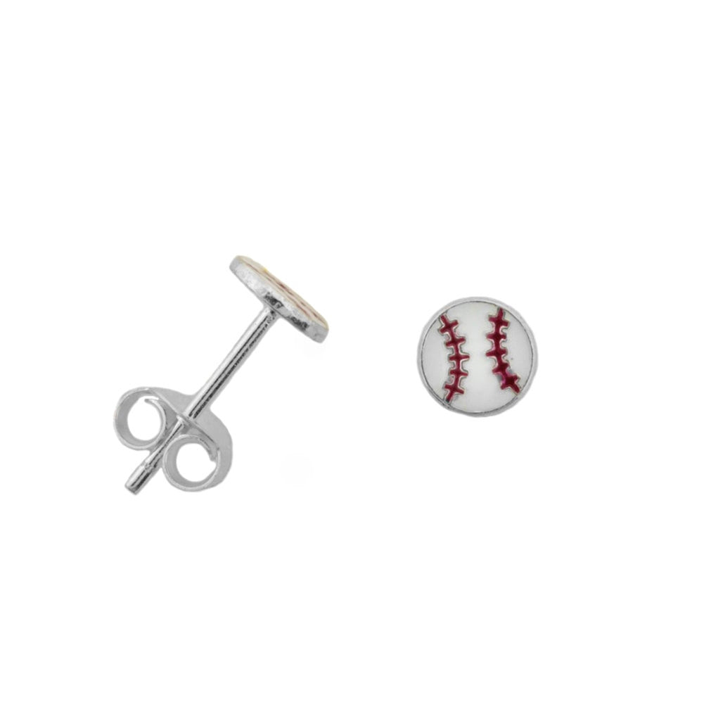 Baseball Softball Post Stud Earrings Sterling Silver 5mm diameter