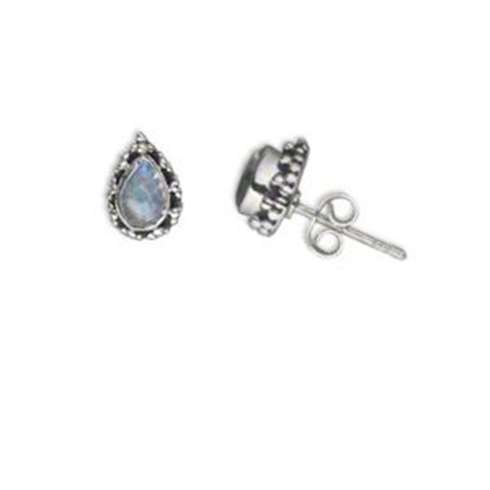 Rainbow Moonstone Post Stud Earrings Teardrop with Bead Sterling Silver