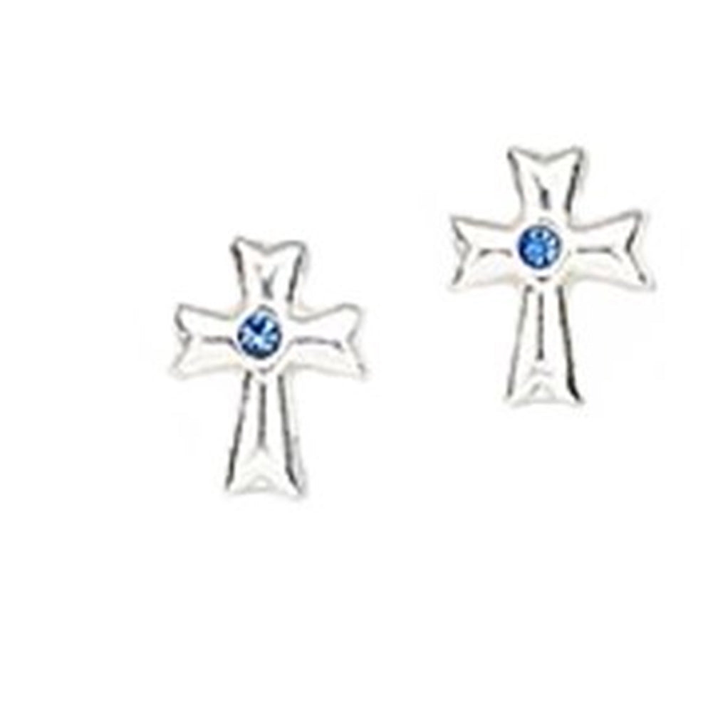 Cross Post Stud Earrings with Dark Blue Crystal