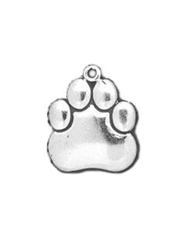 Paw Print Charm or Pendant Sterling Silver