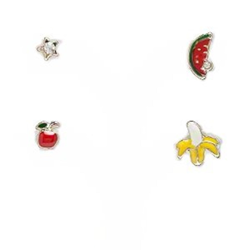 Single Stud Earrings Set of Four Individual Star Apple Watermelon and Banana
