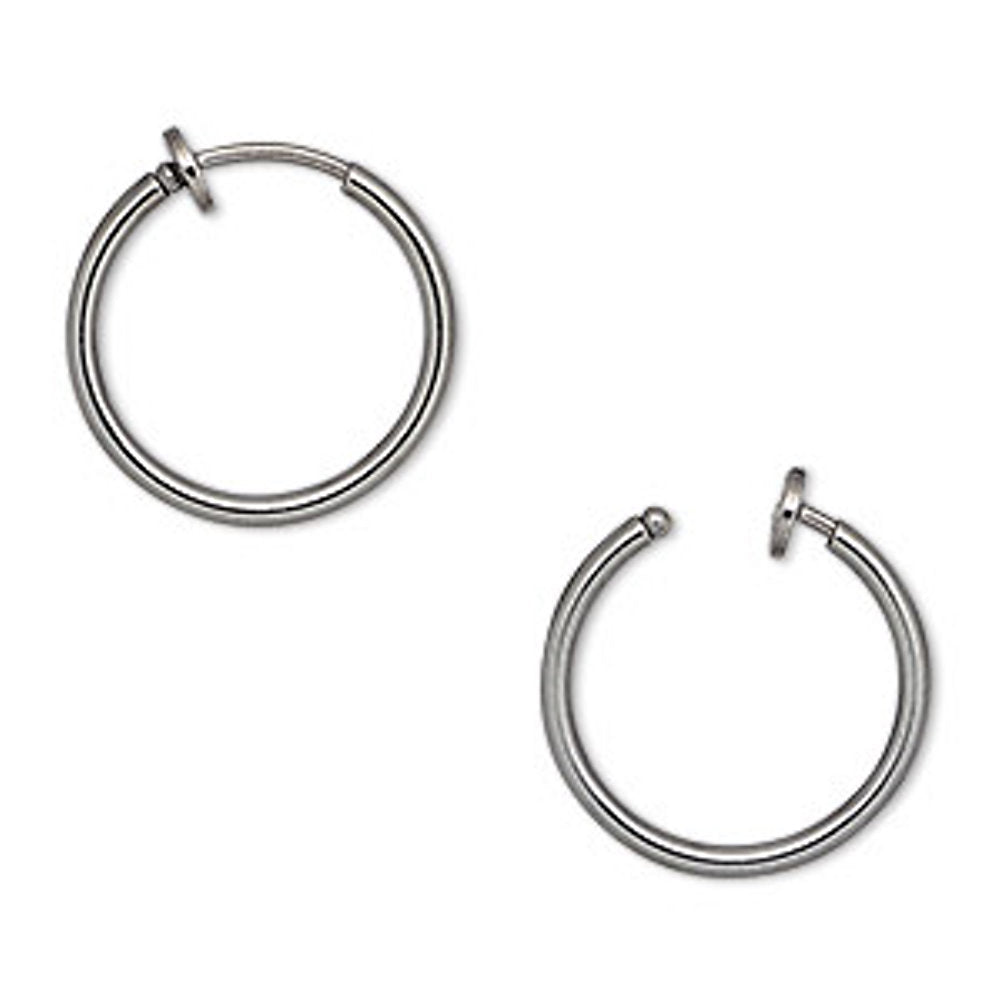 Non-pierced Hoop Earrings with Gunmetal Finish 17mm Round