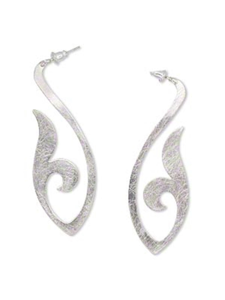 Marquise Vine Design Post Earrings Brushed Rhodium Plate on Steel