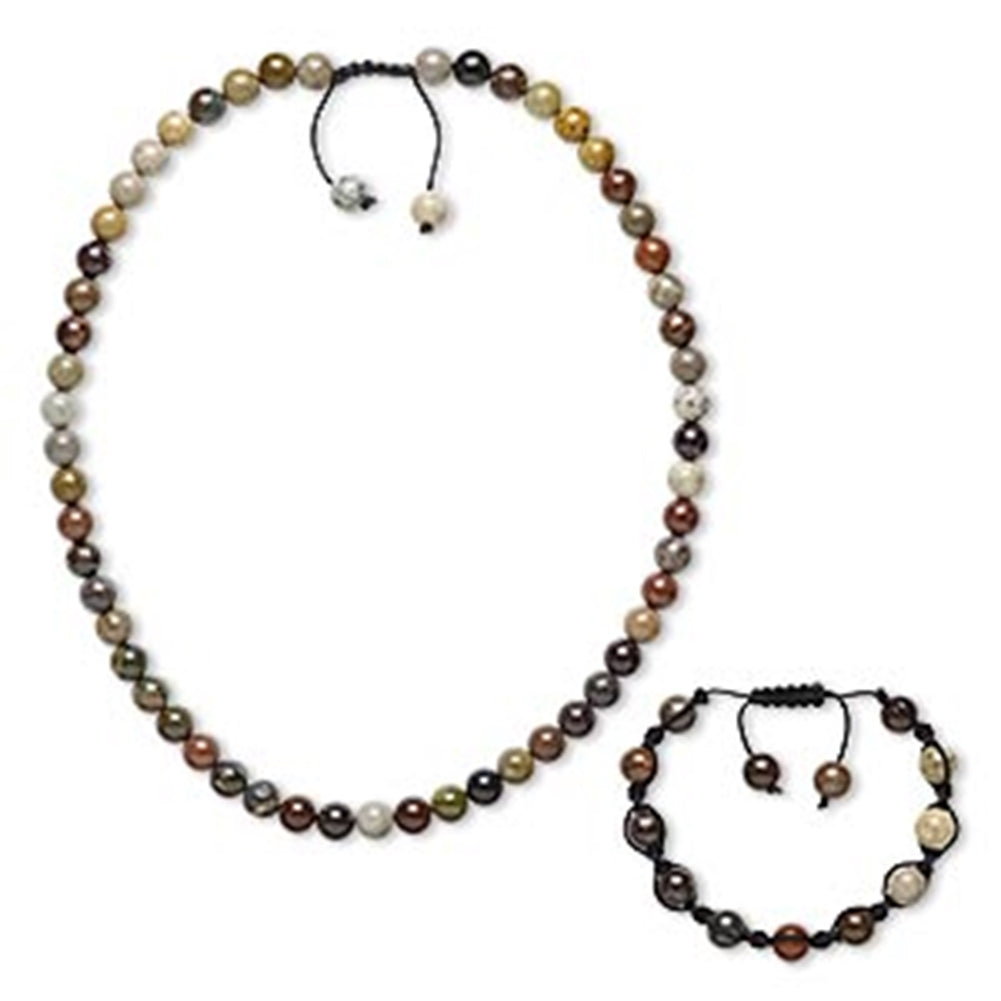 AzureBella Jewelry Multicolor Jasper Shamballa Bracelet and Necklace Set