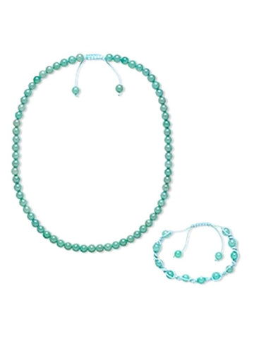 Aqua Blue Shamballa Bracelet and Beaded Necklace Set