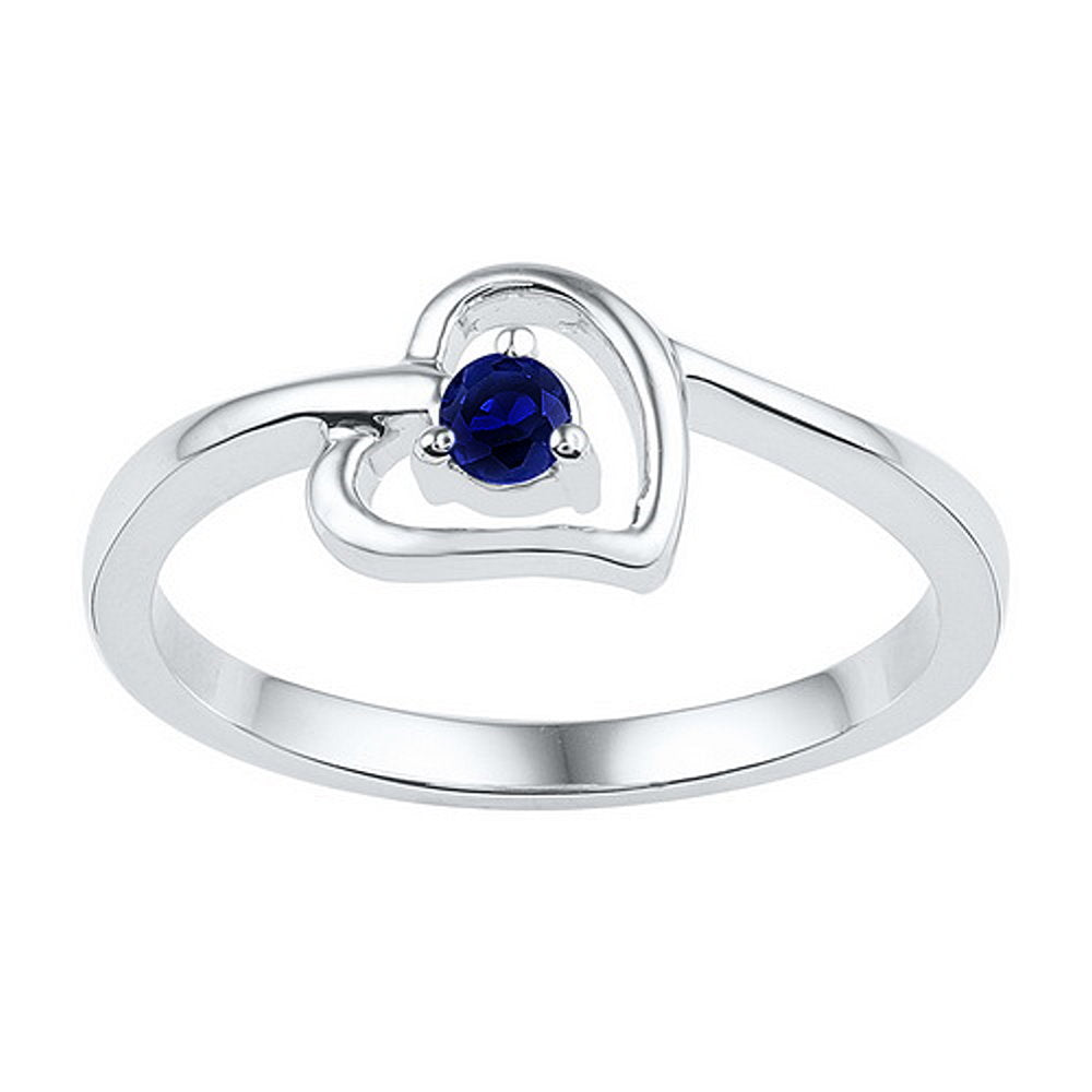 1/4 Carat Created Blue Sapphire Heart Ring Rhodium on Sterling Silver