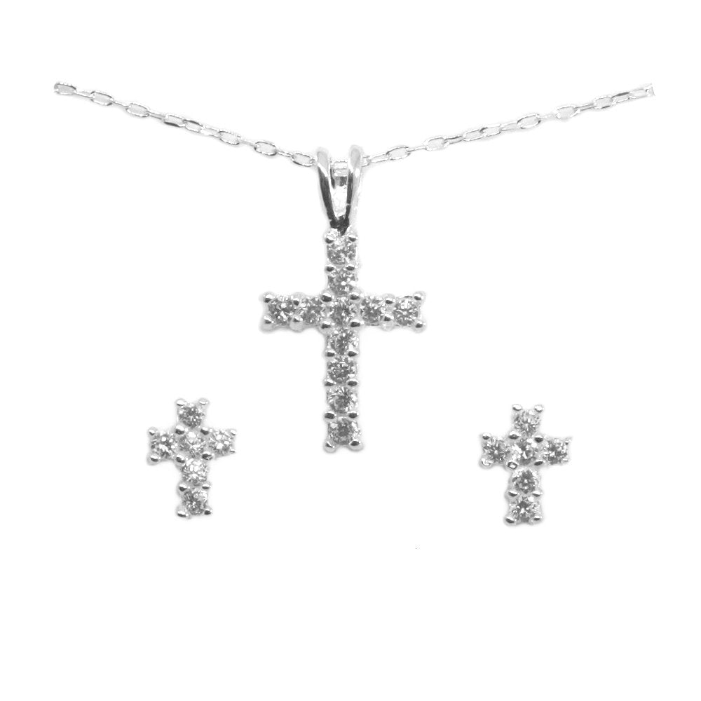 Cross Cubic Zirconia Sterling Silver Earrings and Necklace Set