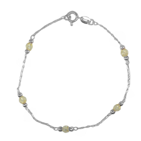 Chain Bracelet Anklet with Yellow Crystal and Silver Beads Sterling Silver