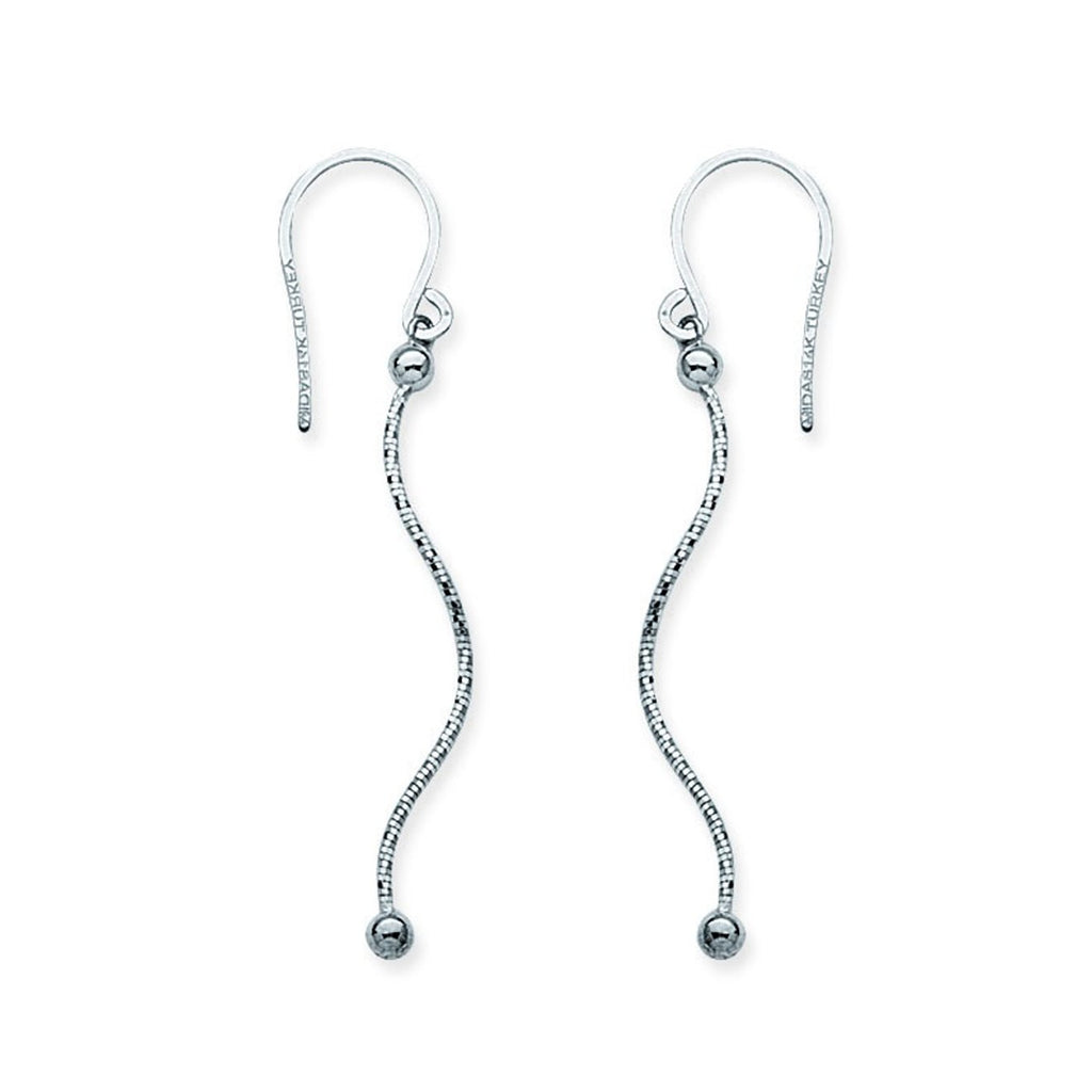 14k White Gold Chain Wave Stick Bead Drop Earrings