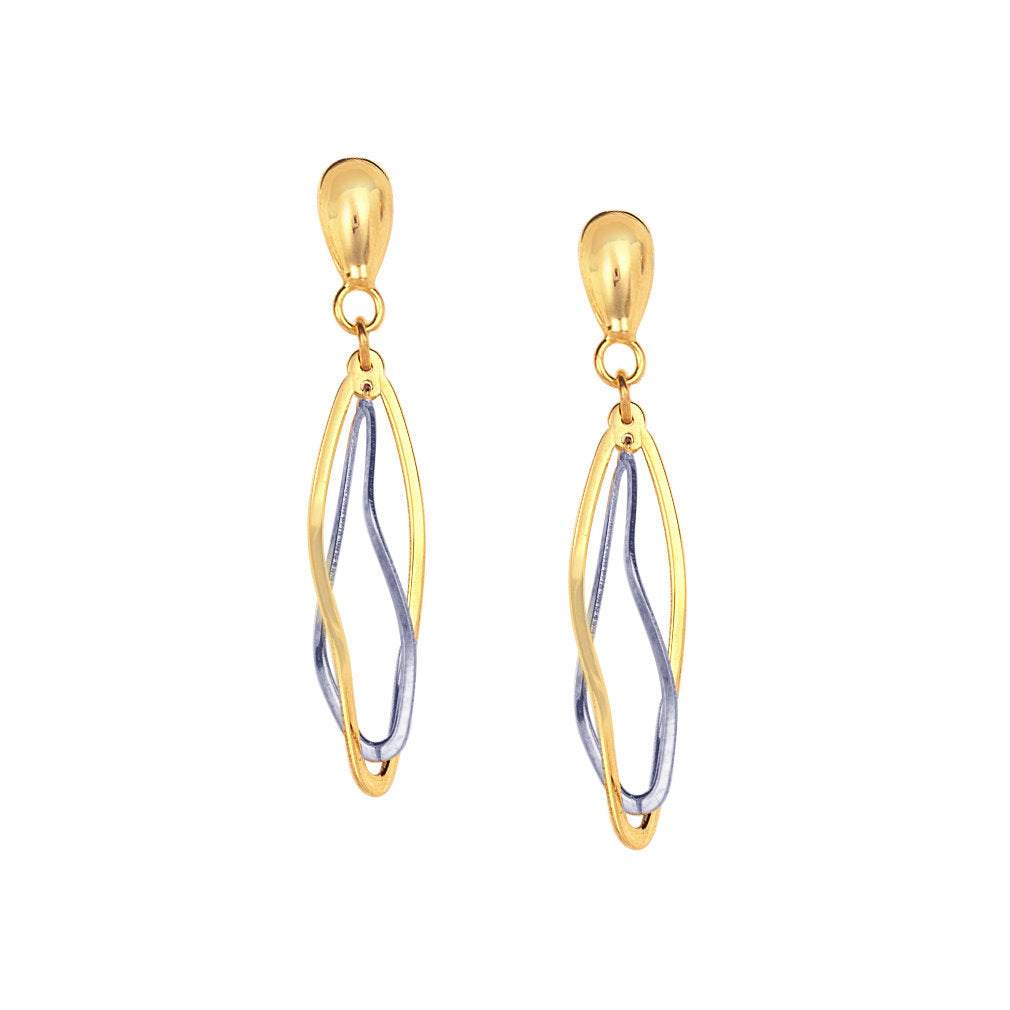 14k Gold Two-tone White and Yellow Dangling Drop Earrings