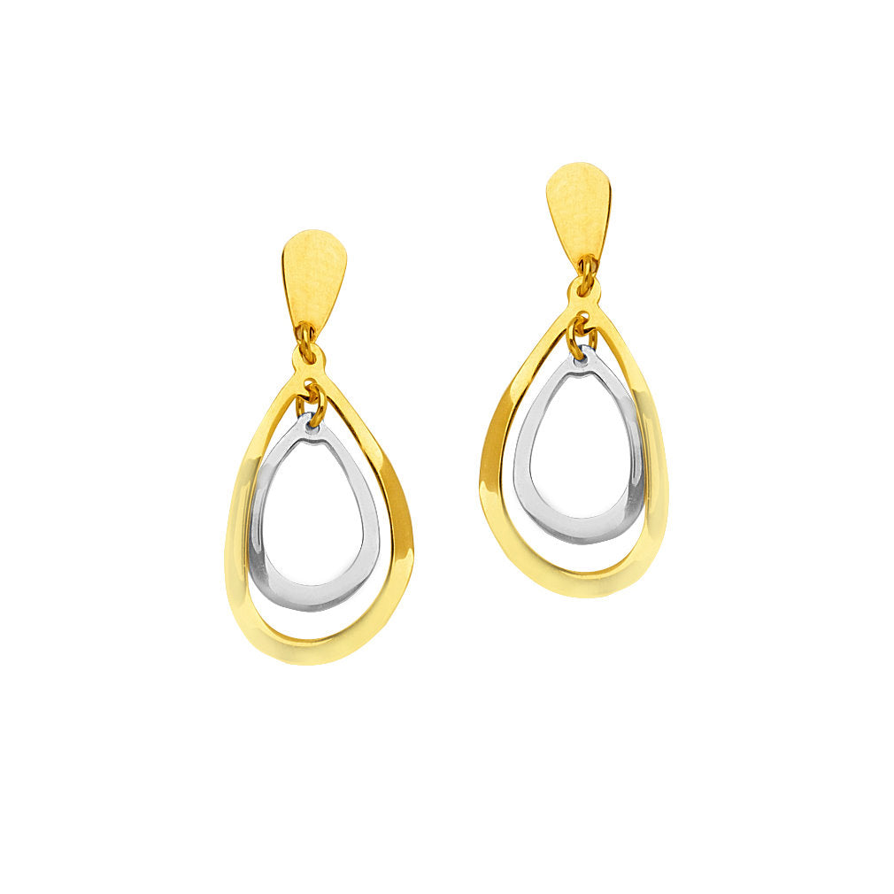 14k Gold Two-tone White and Yellow Teardrop-shape Post Drop Earrings