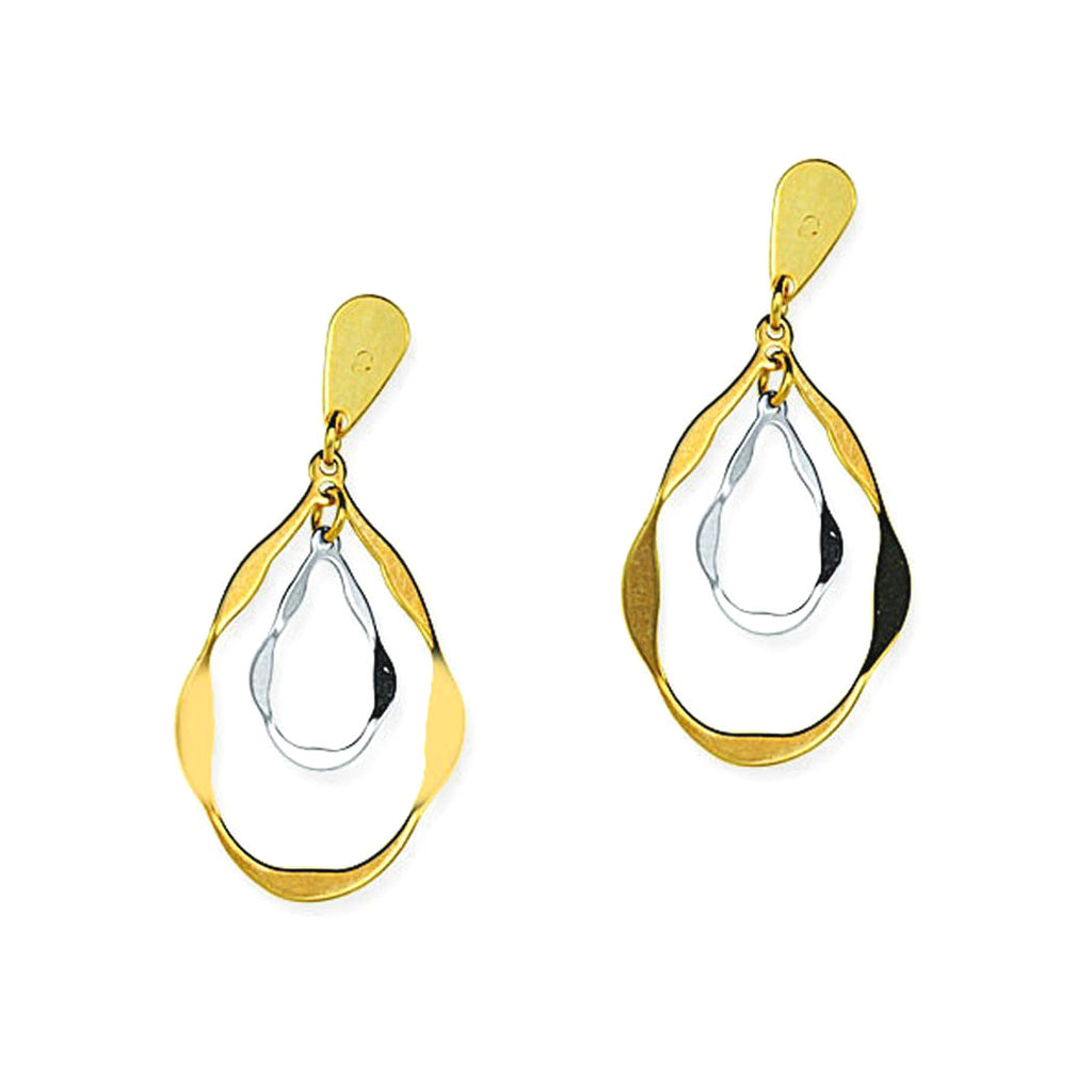 14k Gold Two-tone White and Yellow Teardrop-shape Stamped Earrings