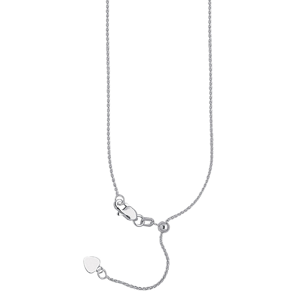 14k White Gold 025 Adjustable Wheat Chain with Slider Adjust Up to 22 inches