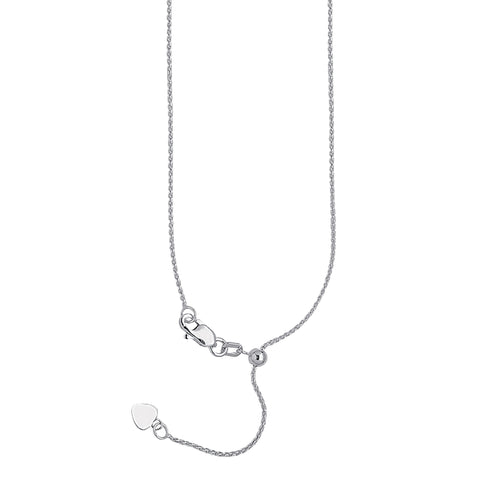 10k White Gold Adjustable Wheat Chain with Slider Adjust Up to 22 inches