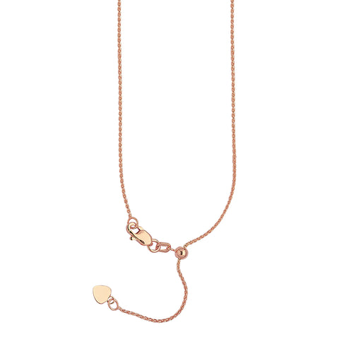 14k Rose Gold Adjustable Wheat Chain with Slider Adjust Up to 22 inches