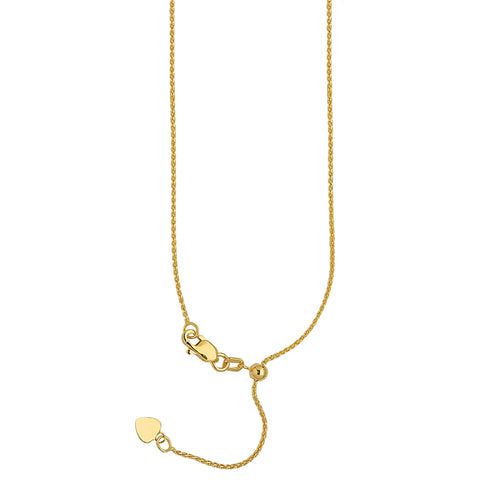 10k Yellow Gold Adjustable Wheat Chain with Slider Adjust Up to 22 inches