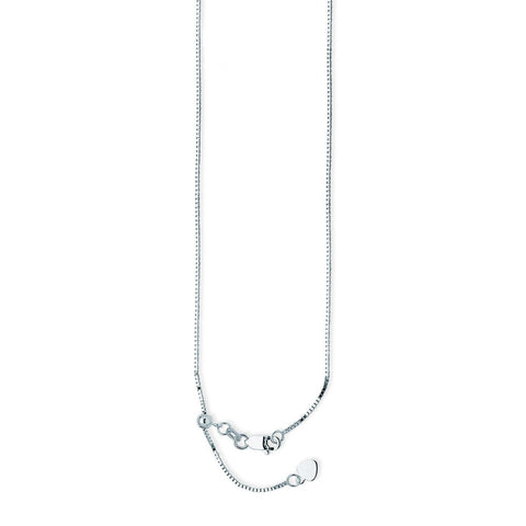 10k White Gold Adjustable Box Chain with Slider Adjust Up to 22 inches