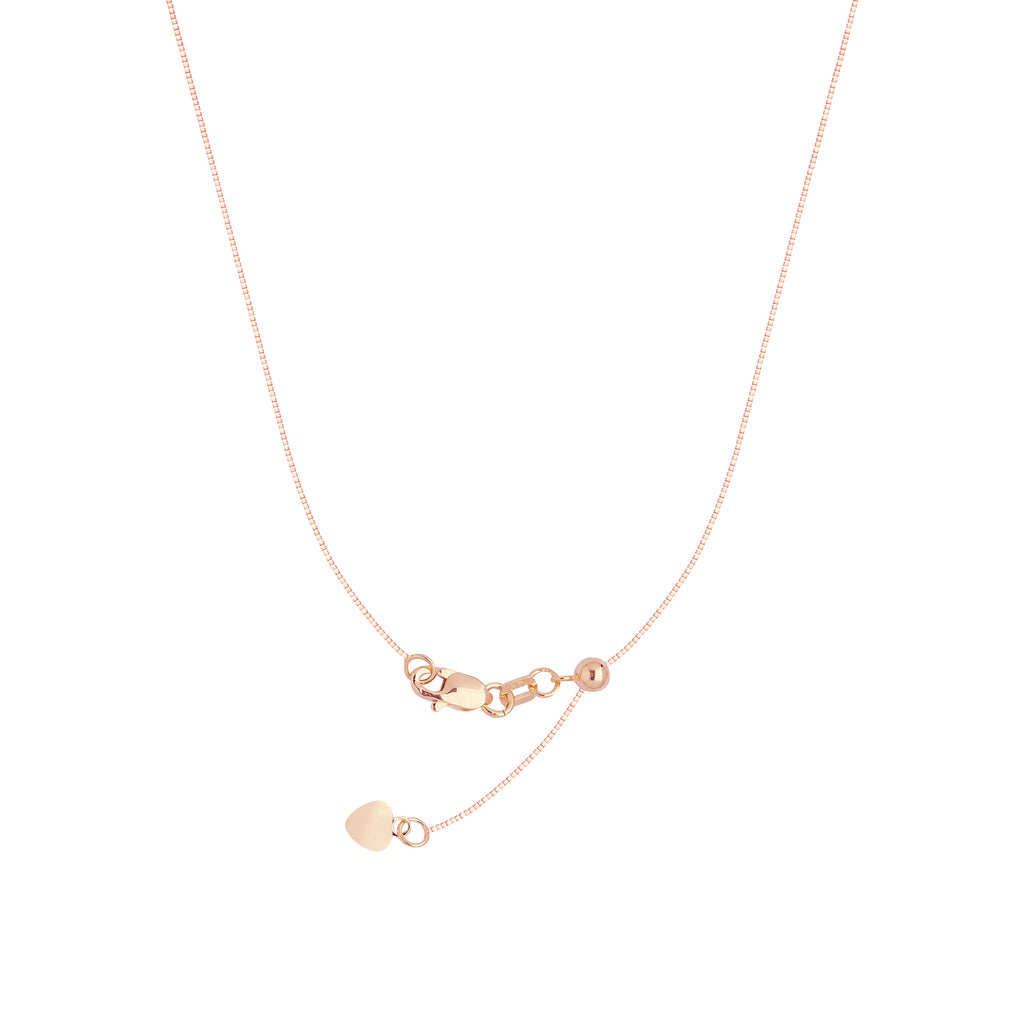 14k Rose Pink Gold 060 Adjustable Box Chain with Slider Adjust Up to 22 inches