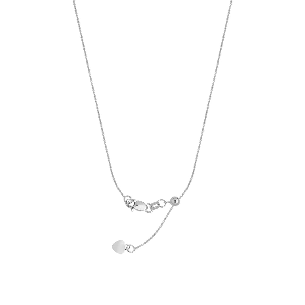 Adjustable Cable Chain .9mm Adjust to 22 inches Rhodium on Sterling Silver