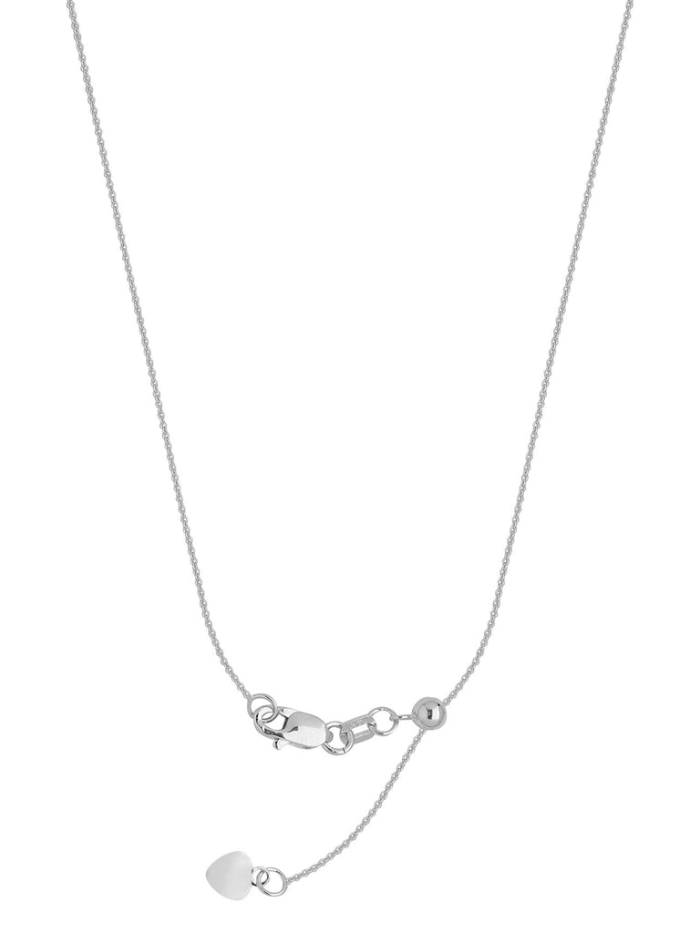 Adjustable Cable Chain 1.05mm Adjust to 22 inches Rhodium on Sterling Silver