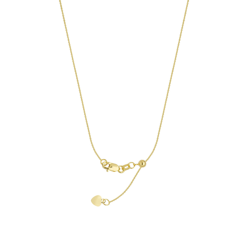 14k Yellow Gold Adjustable Cable Chain with Slider Adjust Up to 22 inches