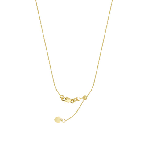 10k Yellow Gold Adjustable Cable Chain with Slider Adjust Up to 22 inches
