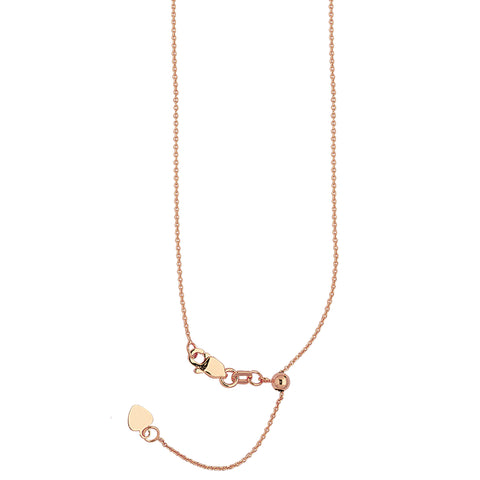 14k Rose Gold Adjustable Cable Chain with Slider Adjust Up to 22 inches