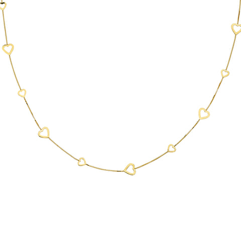 Box Chain Large and Small Heart Necklace Station Style 14k Yellow Gold