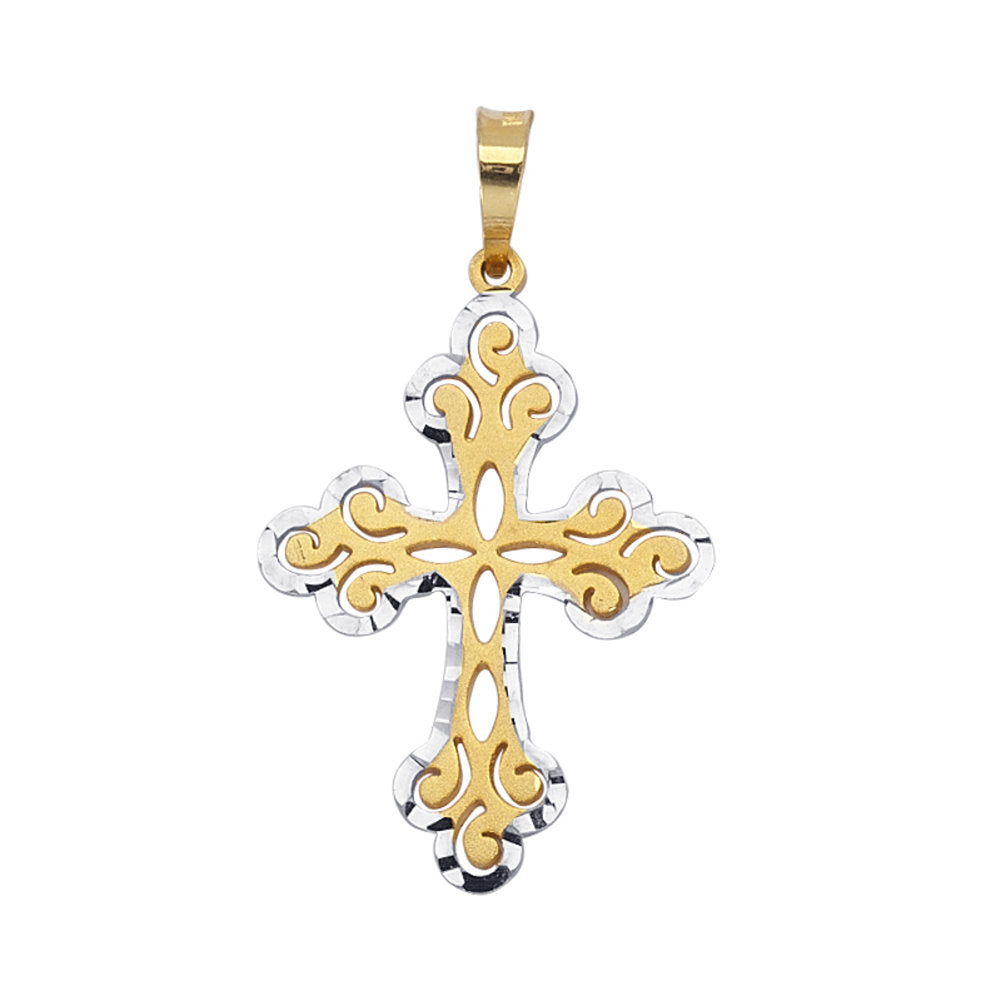 14k Two-tone White and Yellow Gold Fleuree Cross Pendant, Pendant Only