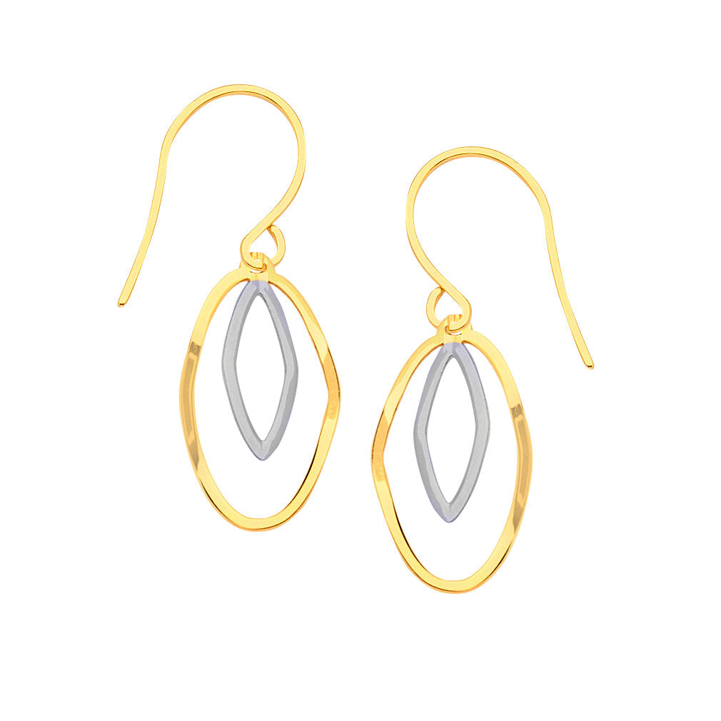 14k Gold Two-tone White and Yellow Dangling Stamped Earrings