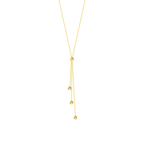 14k Yellow Gold Lariat Necklace with Chain and Bead Drops