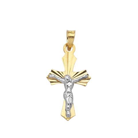 14k Two-tone White and Yellow Gold Crucifix Cross Pendant, Pendant Only