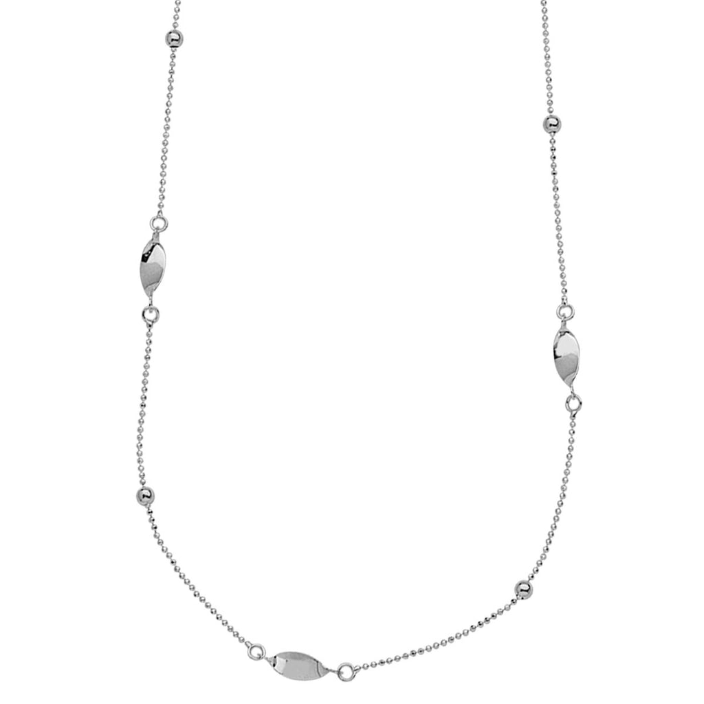 Station Style Necklace 14k White Gold with Beads and Twist Links