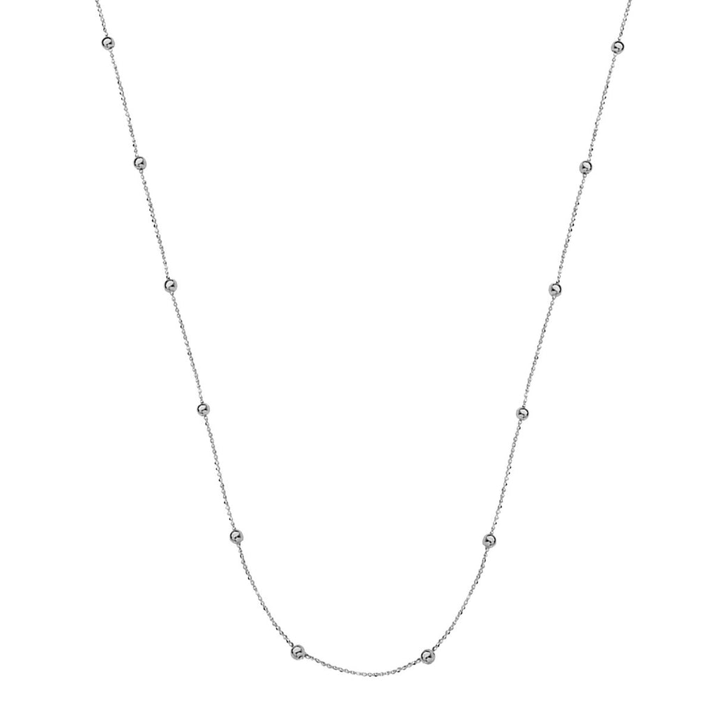 Small Micro Bead Necklace Station Style 14k White Gold